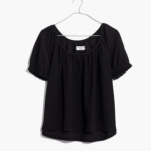 Madewell Texture and thread black peasant top XS
